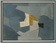 Serge Poliakoff Composition sur fond bleu