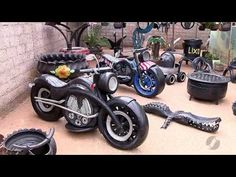 You will love these Tire Garden Art ideas and they're a fantastic way to recy. Tire Furniture, Garage Furniture, Automotive Furniture, Tire Craft, Tire Garden, Tire Chairs, Tyres Recycle, Used Tires, Amazing Street Art