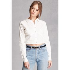 Forever21 Rehab Crisscross Back Shirt ($30) ❤ liked on Polyvore featuring tops, white, white collar shirt, white cotton shirt, forever 21 shirts, raglan sleeve shirts and collared crop top