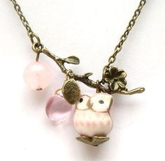 Antiqued Brass Leaf  Quartz Pink Jade Porcelain Owl by gemandmetal, $12.99