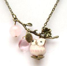 Antiqued Brass Leaf  Quartz Pink Jade Porcelain Owl by gemandmetal, $12.99