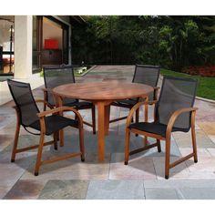 Amazonia Bahamas Eucalyptus Wood 5-Piece Round Patio Dining Set-SC_365_4MANHA - The Home Depot