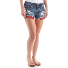 """These juniors denim shorts feature a destructed bandana style front. Soft and stretchy denim for comfort with frayed raw hem to add style. Five pockets for storage with zip fly closure. Low-rise.   •98% cotton, 2% spandex •2.5"""" inseam (size 7) •Machine Wash •Juniors"""