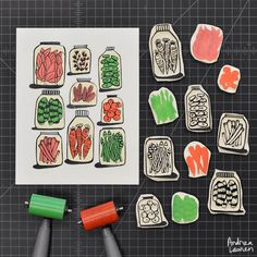 """Using up some leftover bits to carve and print pickles in three colors"""
