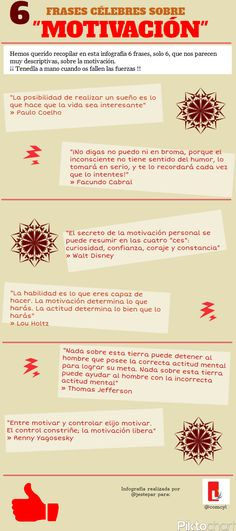 6 frases célebres sobre motivación #infografia (repinned by @ricardollera) Ap Spanish, Spanish Lessons, Coaching, Smart Quotes, The Ugly Truth, Thematic Units, Marketing, Life Motivation, Decir No