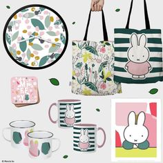 Miffy, Kid Character, Kids Rugs, Tote Bags, Art Prints, Floral, Range, Notebooks, Mugs