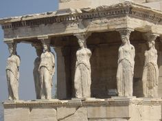 Acropolis - Porch of Caryatids, Athens, Greece. Parthenon Athens, Hermes, Thing 1, Painting Workshop, Greek Art, Ancient Architecture, Ancient Greece, Ancient Art, Wonders Of The World