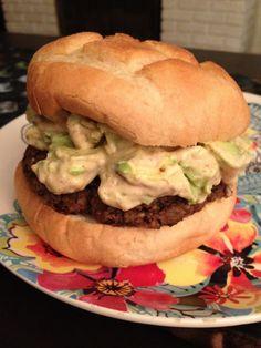 Veggie burger with avocado and chipotle vegan mayo