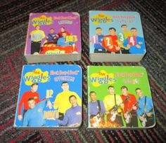 LOT OF 4 THE WIGGLES  MINI BOARD BOOKS ABOUT NUMBERS, COLORS,OPPOSITES & LETTERS