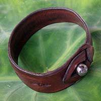 Leather wristband bracelet, 'Floral Chimes' by NOVICA