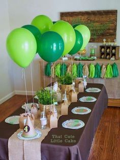 Crocodile Party: Tick Tock it's a party fit for a Croc! Today I'm sharing an ADORABLE Crocodile party styled by That Cute Little Cake using my Crocodile Printables. Be sure to check out all of our Crocodile party ideas and inspiration. Alligator Birthday Parties, Dinosaur Birthday Party, 4th Birthday Parties, Birthday Party Decorations, Green Party Decorations, Birthday Table, Elmo Party, Mickey Party, Party Party