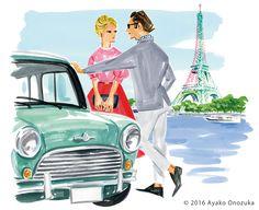 ayako onozuka #illustration #Fashion #Watercolor #イラストレーション #男性 #カップル #車 #女性 #paris #Woman #landscape #EiffelTower #river #car