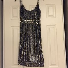 Embellished short evening dress Navy blue evening dress with silver beads and embellishments. Absolutely stunning! Dresses Mini