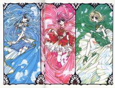 Umi, Hikaru, and Fuu from the CLAMP series, Magic Knight Rayearth