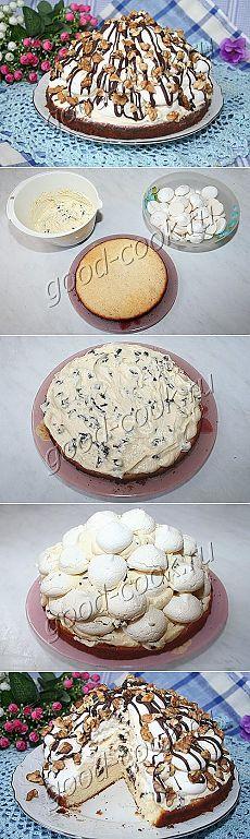 """Хорошая кухня - торт """"Графские развалины"""" на бисквитной основе. Кулинарная книга рецептов. Салаты, выпечка."""