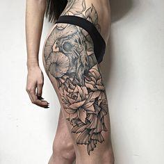 Foreboding Creature Tattoos Are Modern Brothers Grimm Sunflower Tattoo Sleeve, Sunflower Tattoo Shoulder, Sunflower Tattoo Small, Shoulder Tattoo, Foot Tattoos, Sexy Tattoos, Black Tattoos, Body Art Tattoos, Sleeve Tattoos