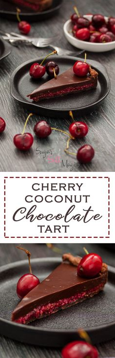 Cherry Coconut Chocolate Tart by Sugar Salt Magic. A luscious layer of fresh cherry and coconut combine in a chocolate pastry shell, smothered in creamy chocolate ganache. Chocolate Pastry, Chocolate Biscuits, Chocolate Topping, Coconut Chocolate, Chocolate Cherry, Chocolate Ganache, Chocolate Work, Chocolate Tarts, Tart Recipes