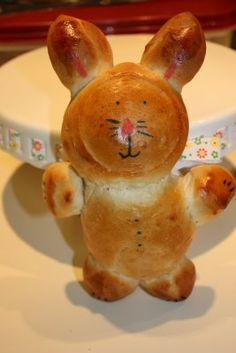 Bunny Bread  Shape and bake frozen bread dough into a tasty Easter treat for the kids:)