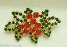 Vintage Holly Red Berry Berries Emerald Green Christmas Rhinestone Brooch Pin