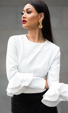 Micah-Gianneli-Asilio-Mode-Collective-Sephora-Luxola-Beauty- - Let Classic White Shirt, Crisp White Shirt, White Shirts, White Blouses, Micah Gianneli, Moda Chic, Fashion Outfits, Womens Fashion, Fashion Trends