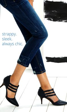 Midnight blue leather t-strap mid heels - would love as a work shoe!