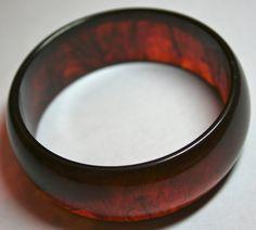 Vintage Bakelite bangle bracelet rootbeer swirl by lbjool on Etsy, $22.00