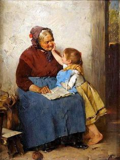 Max Rentel (German 1850 - Großmutter mit Enklein (Grandmother with granddaughter) Classic Paintings, Paintings I Love, Beautiful Paintings, Illustration Art, Illustrations, Reading Art, Norman Rockwell, Painting & Drawing, Vintage Art
