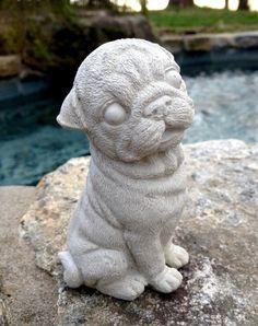 Concrete Pug statue, Concrete dog Statue, Dog Statues, Concrete Garden Decor, Pet Loss, Pet Memorial, Loss of Pet Dog Statue