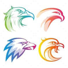 Colorful Eagle Head Logos With Rainbow Gradients — JPG Image #illustration #template • Available here → https://graphicriver.net/item/colorful-eagle-head-logos-with-rainbow-gradients/13562725?ref=pxcr