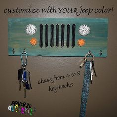 Jeep Grill String & Nail with Key Hooks! Customize with YOUR jeeps color, or chose the option to have natural cedar with mud splatter and tire treads. Just message me with your jeep color after purchase if you want your wood to be stained to match.  This piece comes with 4 key hooks, however, 8 hooks can fit with plenty of room in needed; make sure to chose your number of hooks before purchasing.  Two small saw-tooth picture hangers are installed on back, one on either side of board, so y...