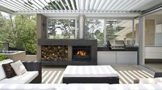 Get cooking on your awesome outdoor kitchen design ideas. See more ideas about outdoor kitchen design ideas, outdoor kitchen design plans, outdoor kitchen design for small space. Outdoor Areas, Outdoor Rooms, Outdoor Dining, Outdoor Furniture Sets, Modern Outdoor Fireplace, Outdoor Kitchens, Patio Dining, Dining Set, Outdoor Fireplaces