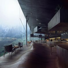 Interior for a New Five Star Hotel in Vals, SwitzerlandJensen & Skodvin Architects, renderings by MIR2015