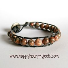 Stones and Leather Bracelet  @Happyhourprojects.com