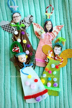 Holiday craft to do with the whole family - angel ornaments. I like this rather than buying the photo ornaments, plus a family activity- WIN, WIN