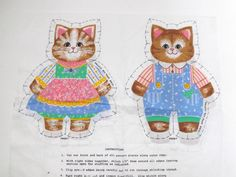 Vintage cat kitten fabric sewing pattern teddy soft toy making family couple craft project on Etsy, US$10.00
