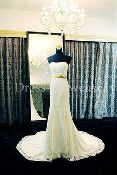 Champagne Sleeveless Fit-and-flare Belt Court Train Satin/ Lace Wedding Dress 2014 #wedding #weddinggown #weddingdress #dress #fashion #bigday #womenfashion #womenwear #2015wedding