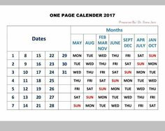 One page calendar for 2017