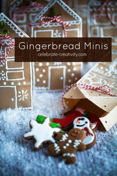 Gingerbread Minis make for a most delicious bite. Recipe and instructions on how to make the cookie gift bags.