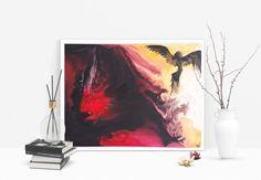 For sale: Acrylic original painting BIRTH OF PHOENIX, beautiful home decor, bird, flame