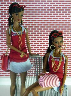 https://flic.kr/p/8LP9AA | Adele & TJ / aka Shelle & Che' | Outfits:Barbie Handbags:Barbie Accessories:By me Glasses:Fashion Royalty  The girls on the fourth of July.