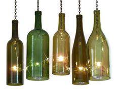 Wine Bottle Candle Holder Hurricane Lantern Hanging Gold 1.5