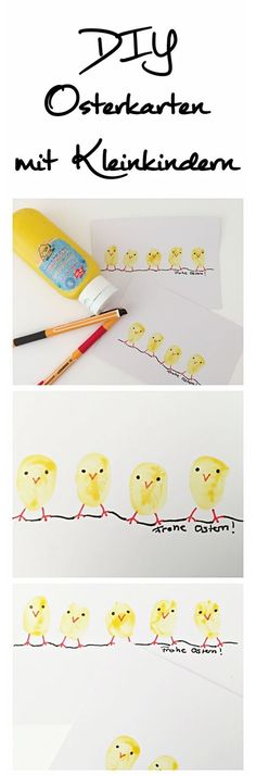 Schnelle Osterkarte mit Kleinkindern basteln - Schwesternliebe&Wir Tinker with toddlers? That's fine! You can also make these cute Easter cards with very young children. And these chicks are super Kids Crafts, Easter Crafts, Crafts To Sell, Diy And Crafts, Card Crafts, Stick Crafts, Toddler Crafts, Diy 2019, Diy Ostern