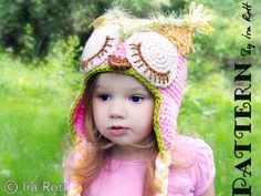 Pink Berry Owl Hat PDF Crochet Pattern by Ira Rott