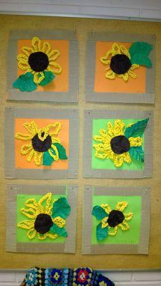 Taitoa ja tekemistä: Auringonkukkia virkkaamalla Autumn Crafts, Fall Crafts For Kids, Summer Crafts, Diy For Kids, Sunflower Crafts, Sunflower Art, Yarn Crafts, Paper Crafts, Diy Crafts
