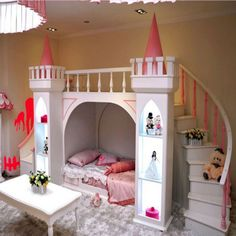 Castle Bed With Stair And Slide In The Girl Bedroom : Beautiful Castle Bed For Your Kids Bedroom