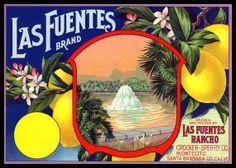 Vintage Fruit Crate Label Art Print - Las Fuentes Lemons ca 1920. $20.00, via Etsy.