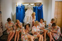Bride giving gifts to her bridesmaids
