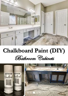 Chalkboard Paint DIY: Bathroom Cabinets - - When preparing our suburban home of 10 years for the market, we walked through the house with our agent and noted everything that needed to be fixed, replaced, updated, and painted. Chalk Paint Kitchen, Painted Vanity, Spray Paint Wood, Painting Bathroom Cabinets, Chalkboard Spray Paint, Spray Paint Cabinets, Chalk Paint Kitchen Cabinets, Diy Chalkboard Paint, Painted Vanity Bathroom