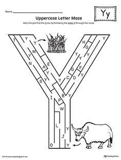 Uppercase Letter Y Maze Worksheet Worksheet.If you are looking for creative ways to help your preschooler or kindergartener to practice identifying the letters of the alphabet, the Uppercase Letter Maze is the perfect activity. Alphabet Letter Crafts, Preschool Letters, Alphabet Worksheets, Writing Worksheets, Kindergarten Worksheets, Arabic Alphabet Letters, Uppercase And Lowercase Letters, Y Words List, Letter Maze