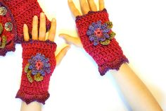 Floral Fingerless Gloves on Pink base hand by ValerieBaberDesigns